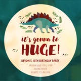 Dinosaur Day - Birthday Invitation