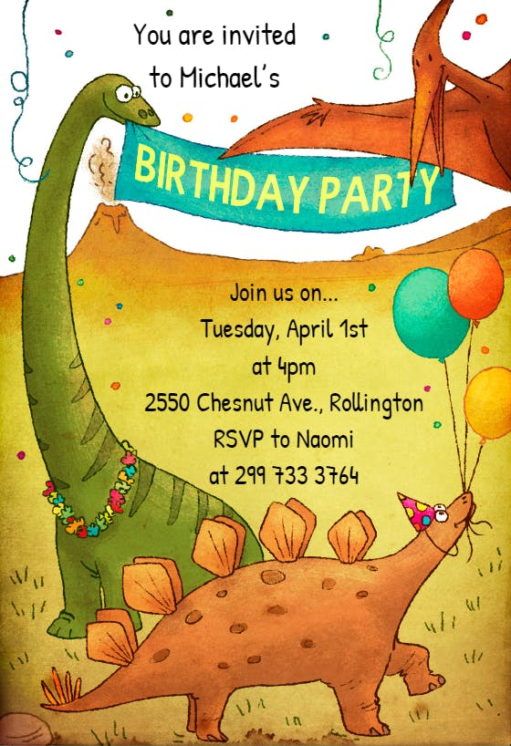 Dinosaur Birthday Invitation Template Free Greetings Island