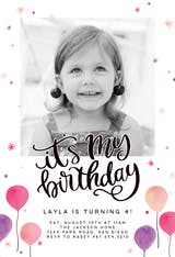 Its My Birthday Balloons - Birthday Invitation