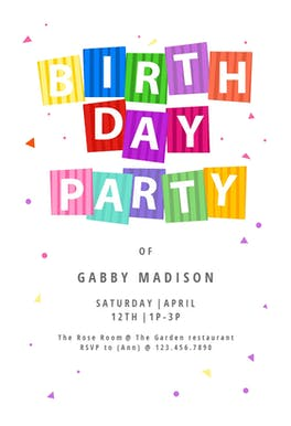 Party Confetti - Birthday Invitation Template
