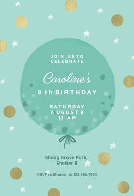 Polka dotted balloon - Birthday Invitation
