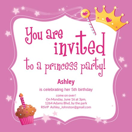 Princess Magic - Birthday Invitation Template (Free ...