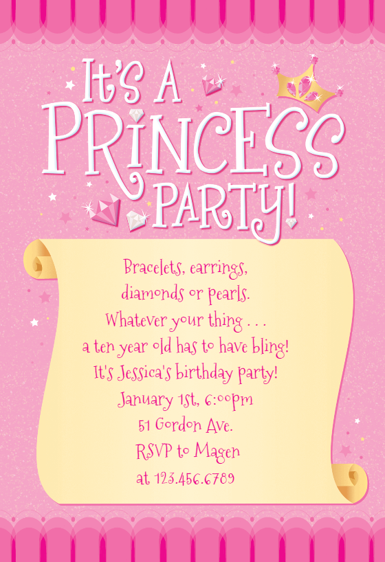 princess invitation template  free