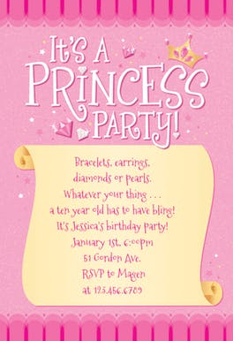 Princess Themed Birthday Party Invitation