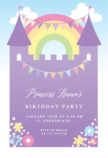Girls birthday invitation templates free greetings island purple castle birthday invitation stopboris Choice Image