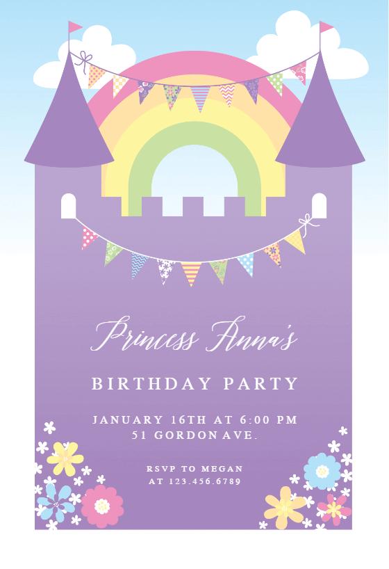 Purple Castle   Birthday Invitation