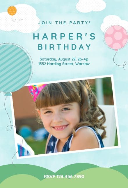 Birthday Invitation Cards With Photos Free