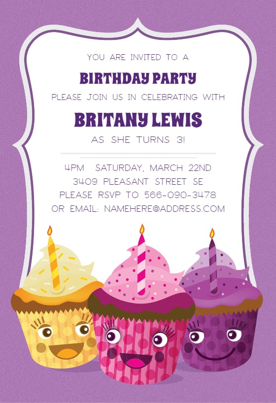 editable template INSTANT DOWNLOAD Cupcake Birthday Invitation Cupcake Invitation Cupcake Invite Cupcake Party Invitation