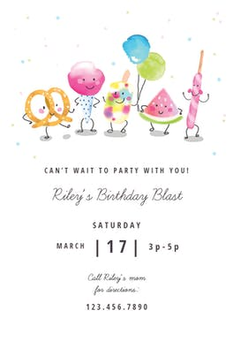 Snacks Queue - Birthday Invitation
