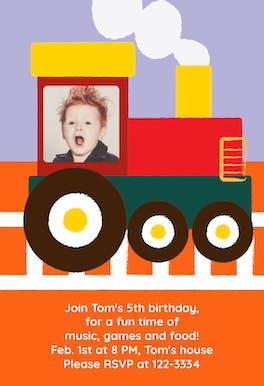 Train - Birthday Invitation Template
