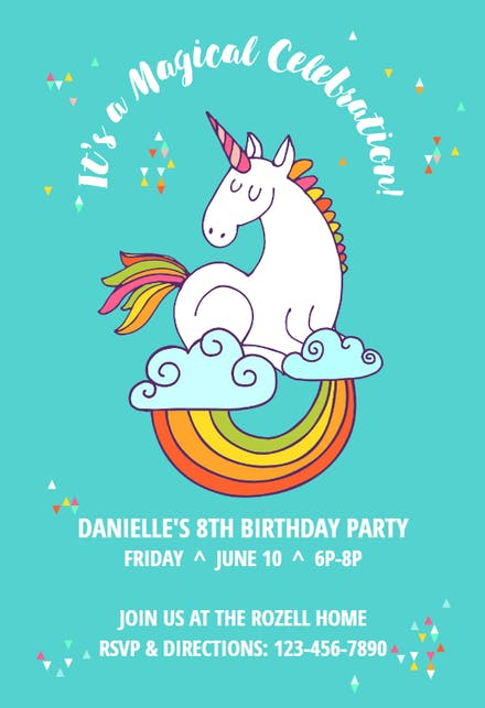 Unicorn Invitation Template Free Greetings Island