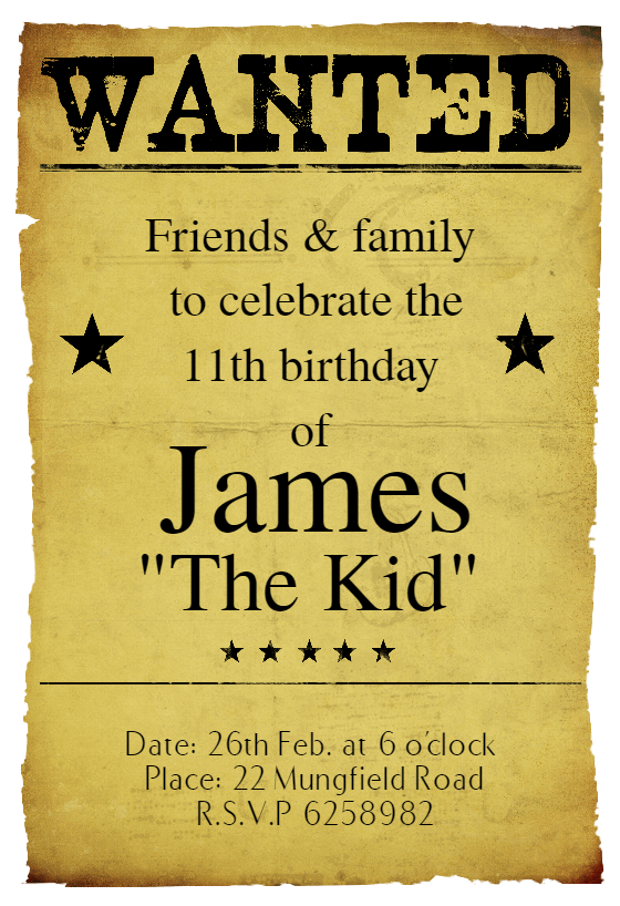Western Birthday Party Free Birthday Invitation Template