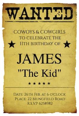 Western Birthday Party - Birthday Invitation