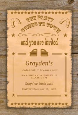 Wild West Style - Birthday Invitation