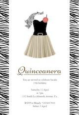 Zebra Quinceanera - Quinceañera Invitation