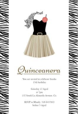 Zebra Quinceanera - Birthday Invitation