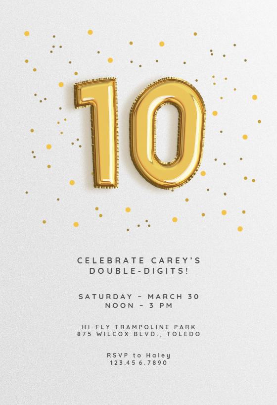 10th Birthday Invitations