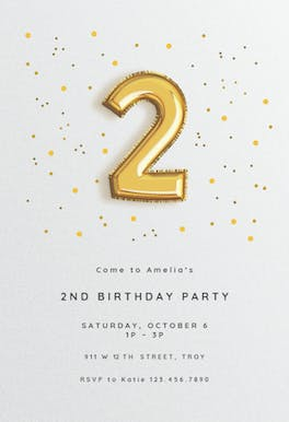 2nd birthday balloons - Birthday Invitation