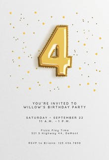 4th birthday Balloons - Birthday Invitation