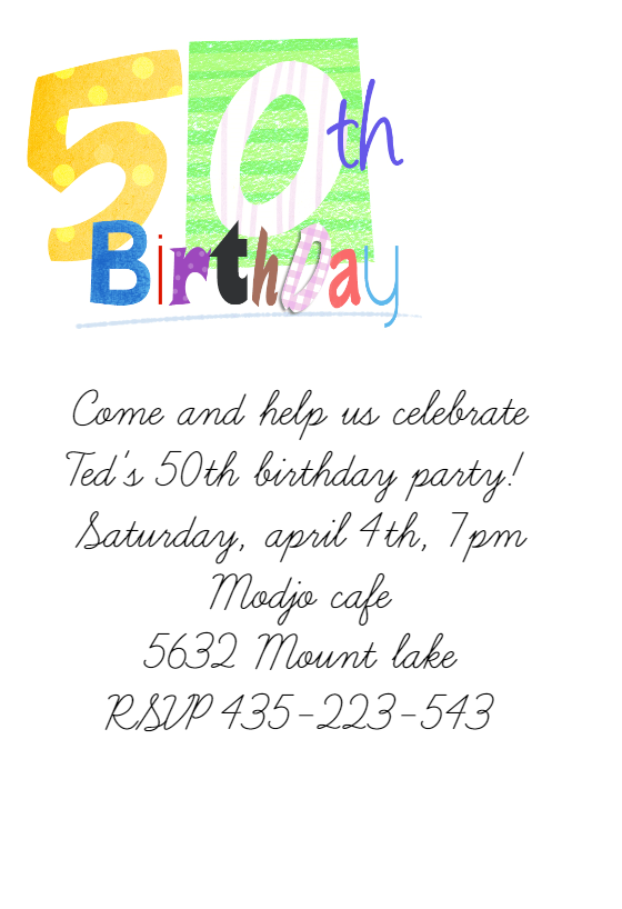 50th Birthday Free Birthday Invitation Template
