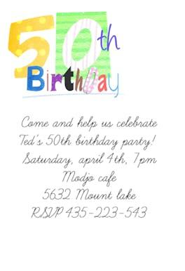 50th Birthday - Birthday Invitation
