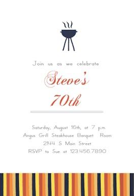 70 Dinner Celebration - Birthday Invitation