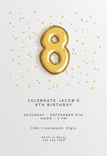 8th birthday Balloons - Birthday Invitation