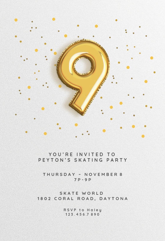 9th Birthday Balloons Free Printable Birthday Invitation