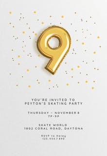 9th birthday Balloons - Birthday Invitation