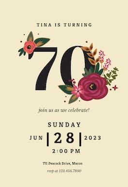 Botanical milestone 70 - Birthday Invitation
