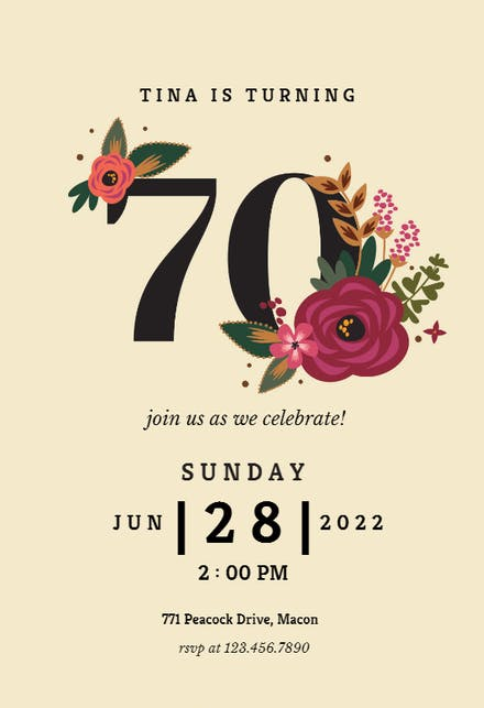 70th Birthday Invitation Templates Free