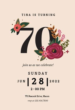 Botanical milestone 30 - Birthday Invitation
