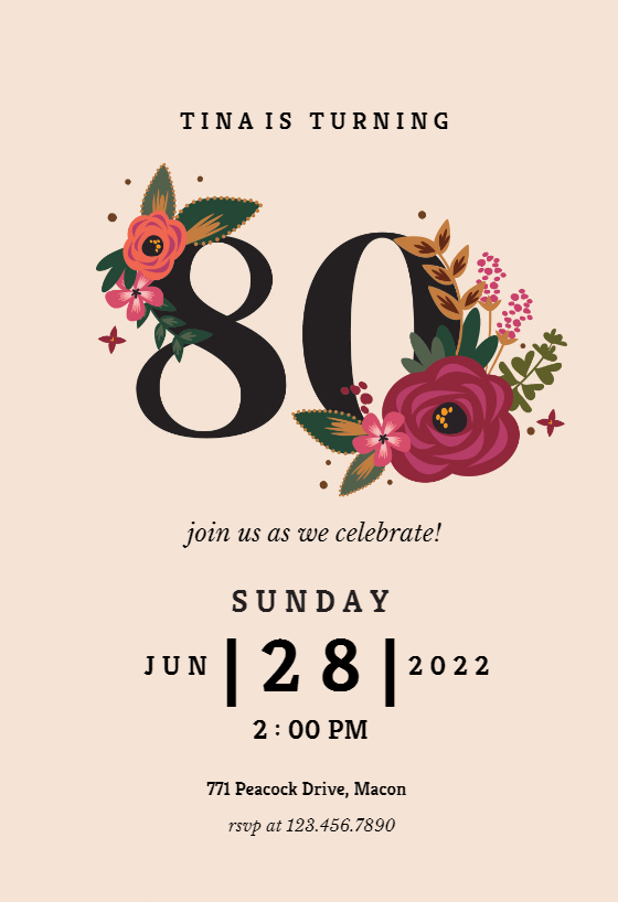 Free 80th Birthday Invitation Templates Greetings Island