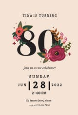 Botanical milestone 80 - Birthday Invitation