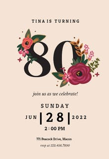 80th birthday invitation templates free greetings island botanical milestone 80 birthday invitation filmwisefo