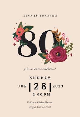 Botanical milestone 80 - Birthday Invitation