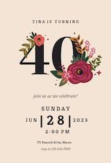 Botanical milestone 60 - Birthday Invitation