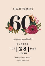 Botanical milestone 70 - Birthday Invitation