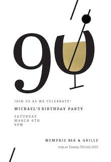 Cocktail splash 90 - Birthday Invitation