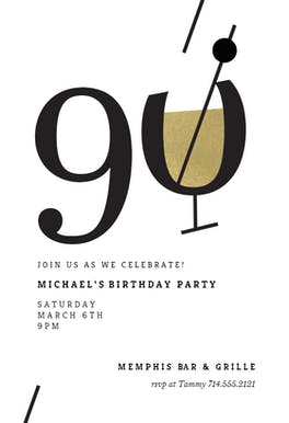 Cocktail splash 90 - Birthday Invitation