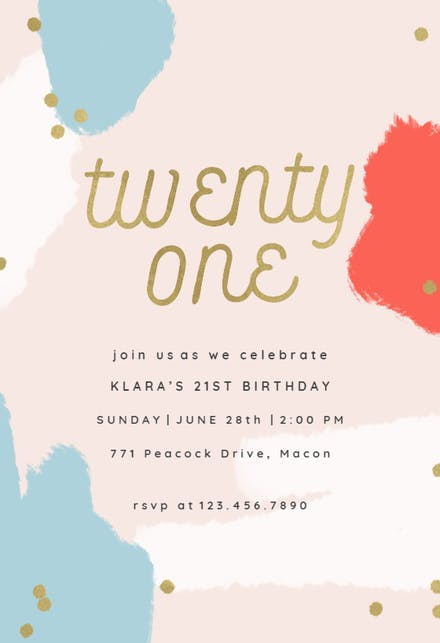 Color splash 21 - Birthday Invitation