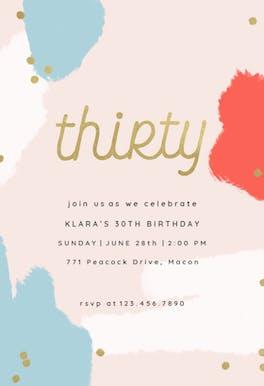 Color splash 30 - Birthday Invitation