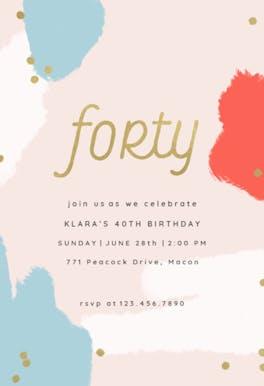 Color splash 40 - Birthday Invitation