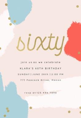 Color splash 60 - Birthday Invitation