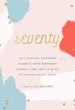 Color splash 70 - Birthday Invitation