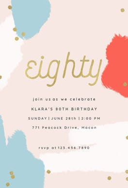 Color splash 80 - Birthday Invitation