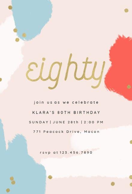 80th Birthday Invitation Templates (Free) | Greetings Island