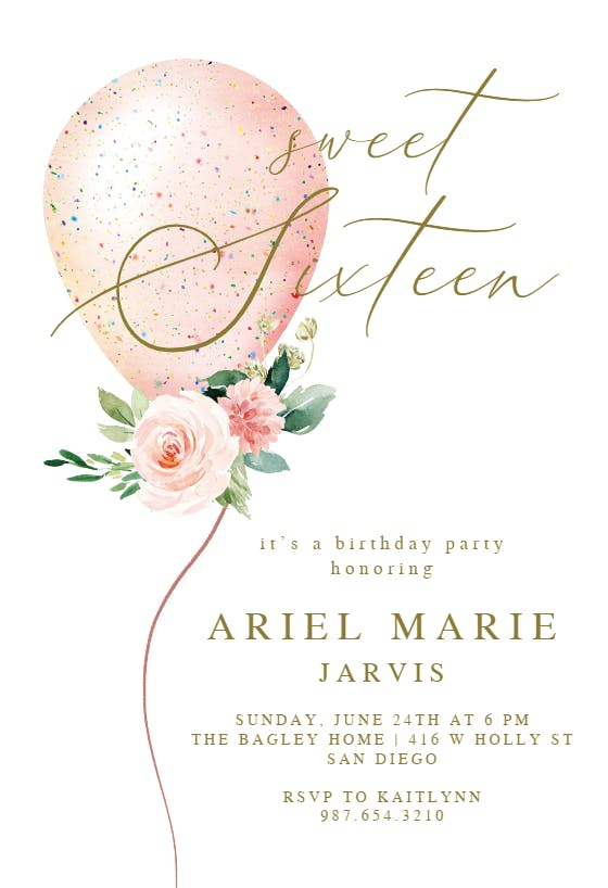 Butterfly and Flowers Sweet 16 Birthday Party Invitation