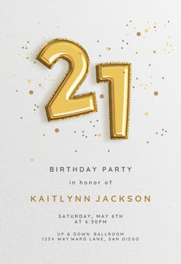 21st Foil balloons - Birthday Invitation