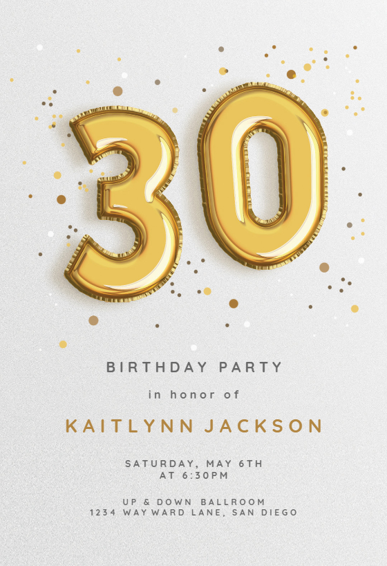 Sensational 30Th Foil Balloons Birthday Invitation Template Free Birthday Cards Printable Opercafe Filternl